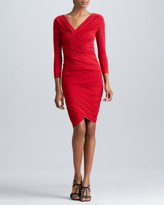 Donna Karan Three-Quarter-Sleeve Ruched Dress, Blood Red