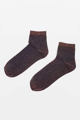 Crop ribbed glitter socks