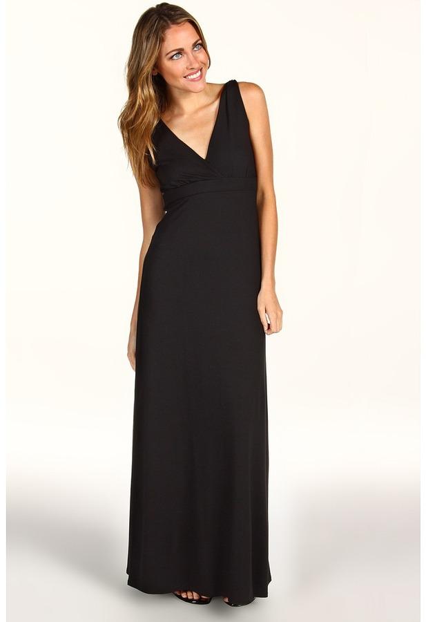 Three Dots Twist Strap Maxi Dress (Black) - Apparel