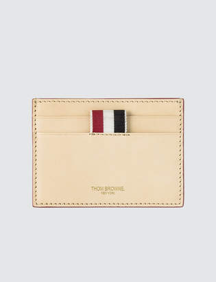 Thom Browne Single Card Holder In Toy Icon Embossed Vegetan Vachetta Leather