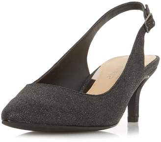 55c444368bf Dorothy Perkins Womens  Head Over Heels Corrin Black Mid Heel Slingback  Court Shoes