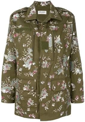 Saint Laurent floral embroidered parka coat