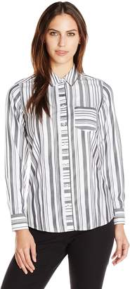 Foxcroft Women's Long Sleeve Herringbone Stripe Non Iron Shirt