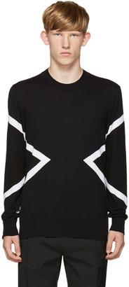 Neil Barrett Blue & Black Modernist Sweater $405 thestylecure.com