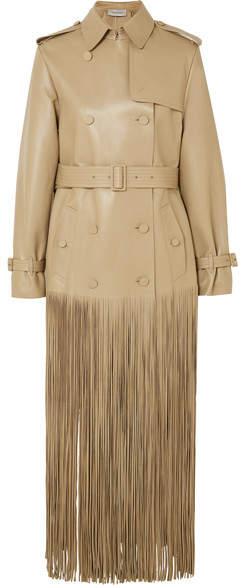 Double-breasted Fringed Leather Trench Coat – Beige