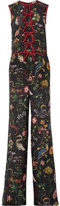 RED Valentino Bow-embellished Floral-print Silk-chiffon Jumpsuit - Black