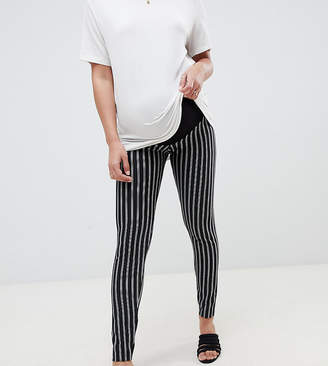Asos DESIGN Maternity skinny ponte pinstripe pants