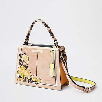 River Island Light pink embroidered top handle tote bag