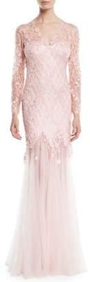 Tadashi Shoji Long-Sleeve Lace Gown w/ 3D Appliqué