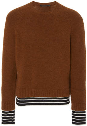 Haider Ackermann Solid And Striped Crew Neck Sweater