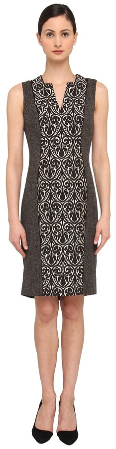 Rachel Roy Mix Media S/L Dress (Black/White) - Apparel