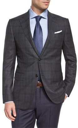 Ermenegildo Zegna Trofeo Plaid Two-Button Jacket, Green/Navy $2,095 thestylecure.com