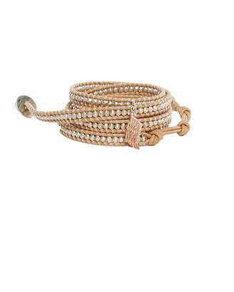 Chan Luu Silver Beads on Peach Leather Wrap with Diamond Wing Charm