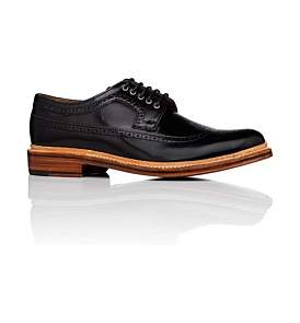 Grenson Sid Leather Derby W/ Wingtip Brogue Detail And Welted Sole