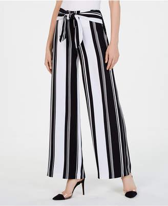 INC International Concepts I.n.c. Striped Tie-Waist Wide-Leg Pants
