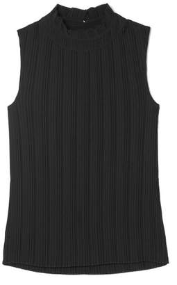 Maje Plissé-jersey Top - Black