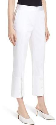 Lewit Button Detail Stretch Cotton Crop Pants