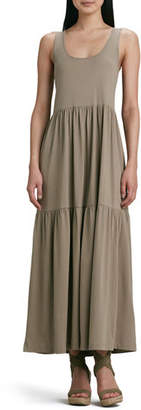 Joan Vass Petite Tiered Long Tank Dress