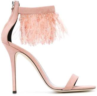 Giuseppe Zanotti Design feather and bead trim sandals