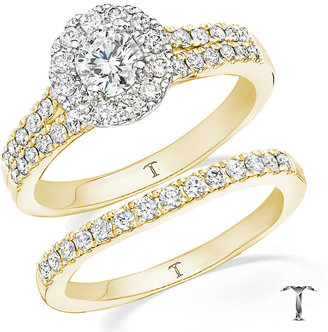 Tolkowsky 18ct gold 1ct round cut diamond bridal set