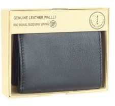 Montauk Leather Club Men's RFID Signal Blocking Genuine Leather Tri-Fold Wallet with Gift Box