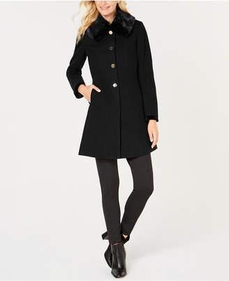Laundry by Shelli Segal Faux-Fur-Collar Back-Corset Coat