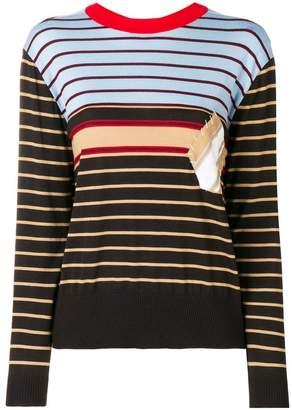 Marni stitched-patch striped sweatshirt