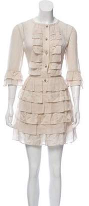 Temperley London Silk Ruffle-Accented Dress