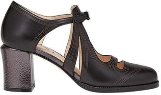 Fendi double T-bar strap court shoes
