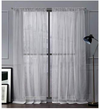 "Nicole Miller Exclusive Home Wellington Embellished Slub Rod Pocket Top 54"" X 96"" Curtain Panel Pair"