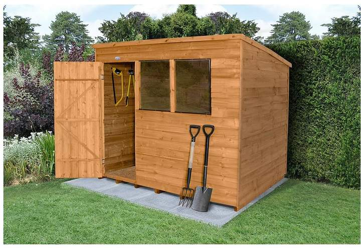 Forest Forest 8x6ft Great Value Overlap Shed Pent Roof With Windows Plus Base & Assembly