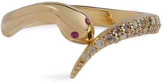 Bee Goddess Yellow Gold, Diamond and Ruby Eve Serpent Ring