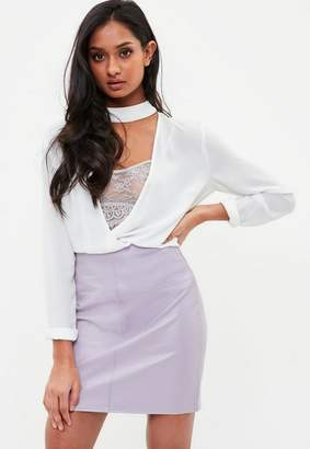 Missguided Lilac Faux Leather Mini Skirt