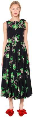 Bouquet Printed Cotton Poplin Dress