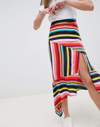 Asos DESIGN asymmetric hem midi skirt in rainbow stripe print