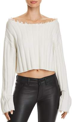 Alexander Wang Off-the-Shoulder Cropped Sweater