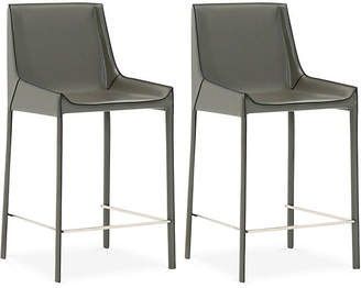 One Kings Lane Set of 2 Conrad Counter Stools - Cappuccino Leather