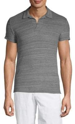 Orlebar Brown Short-Sleeve Heathered Cotton Polo