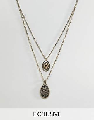 Reclaimed Vintage inspired layered necklace with coins in burnished gold exclusive at ASOS