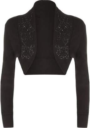 Roland Mouret Fashions Womens Beaded Long Sleeve Shrugs Sequin Bolero Crop Cardigan Top Small