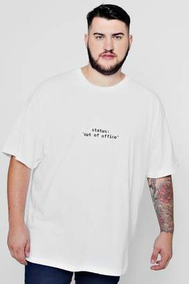 boohoo Big & Tall Out Of Office T-Shirt