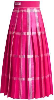 FENDI Logo-jacquard checked pleated midi skirt