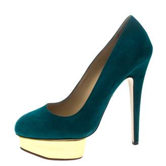 Charlotte Olympia Dolly Blue Suede Heels