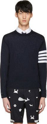 Thom Browne Navy Classic Four Bar Pullover $875 thestylecure.com