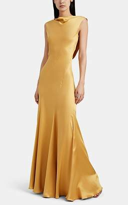 Alberta Ferretti Women's Silk Satin Bias-Cut Gown - Gold