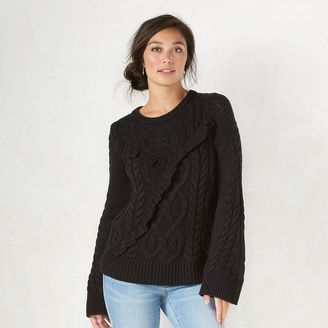 Women's LC Lauren Conrad Cable Knit Boatneck Sweater $54 thestylecure.com