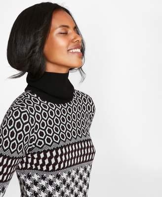Brooks Brothers Geometric Shimmer Merino Wool Turtleneck Sweater