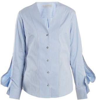 Palmer Harding Palmer//Harding Palmer//harding - V Neck Striped Cotton Shirt - Womens - Blue Stripe