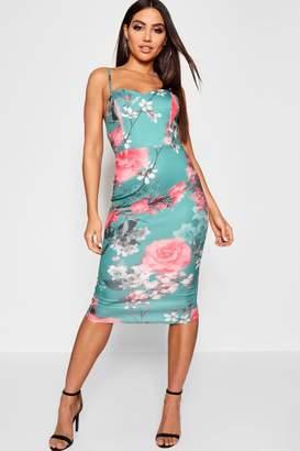 boohoo Floral Sweetheart Neck Bow Back Midi Dress