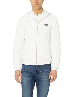 Tommy Hilfiger Tommy Jeans Men's Relaxed Fit Hooded Packable Windbreaker, Flame Scarlet, X